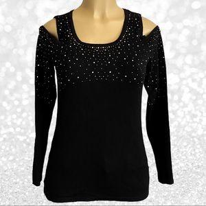 Belldini Cold Shoulder Rhinestone Sweater